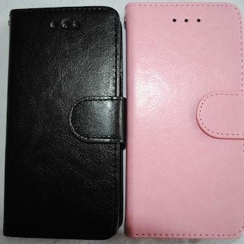 Plånkboksskal i läder av hög kvalitet till Samsung S6 Edge rosa
