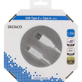 DELTACO USB 2.0 kabel, Typ C - Typ A ha, 1,5m, vit