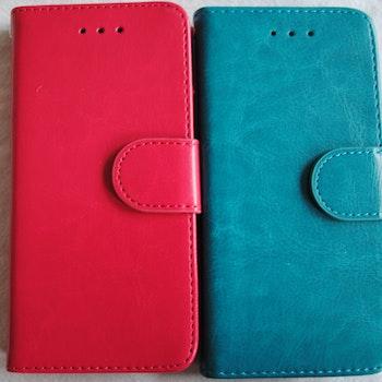 Plånkboksskal i läder av hög kvalitet till Samsung S6 Edge Cerise