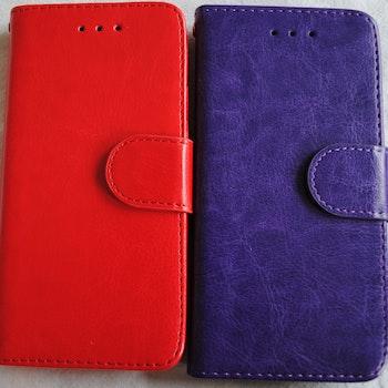 Plånkboksskal i läder av hög kvalitet till Samsung S6 Edge Lila