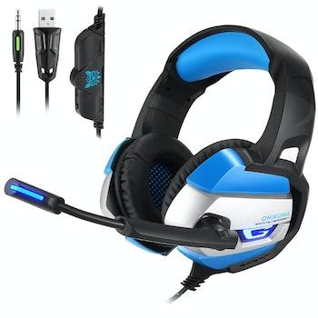ONIKUMA K5 3.5mm Stereo gaming headset med Mikrofon blå