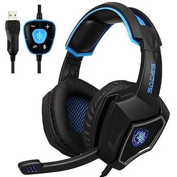 SADES WOLF SPIRIT 7,1 Surround USB blå