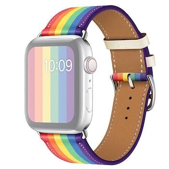 För Apple Watch 38/40mm Läderarmband Pride Silverspänne
