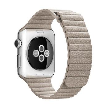 För Apple Watch 42mm Loop magnetlåsspänne PU läder armband Khaki