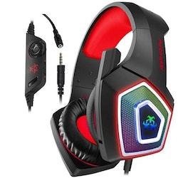 Hunterspider V1 3,5 mm RGB gaming headset röd