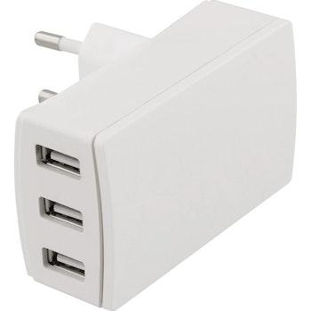 DELTACO Väggladdare, 240V till 5V USB, 3,4A, 3xUSB-A portar, vit