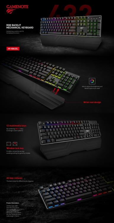 HAVIT HV-KB432L RGB Backlit mekaniskt tangentbord