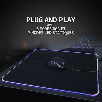 DELTACO GAMING RGB Mousepad, 45x40cm