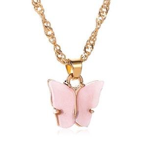 Light Pink Butterfly Necklace