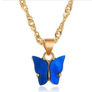 Dark blue Butterfly Necklace