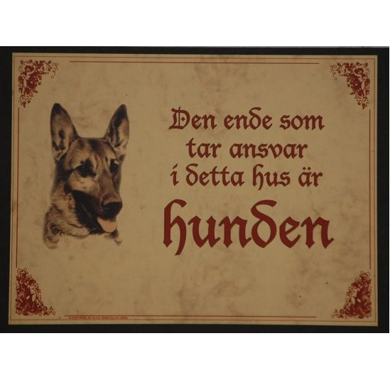 "Tavla (kloka ord) ""Hund med ansvar"""