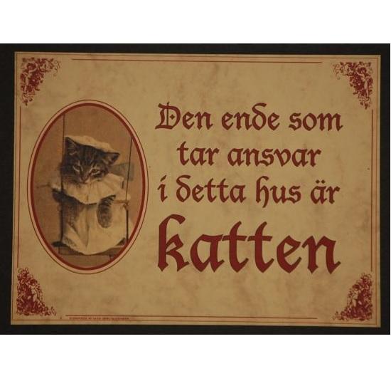 """Tavla (kloka ord) """"Katt med ansvar"""""""