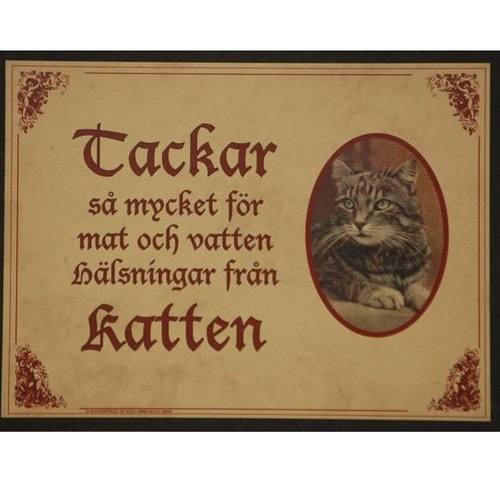 "Tavla (kloka ord) ""Katten tackar"""