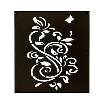 Skärmvägg Blomma svart