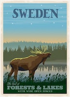 Mini Poster  Moose Forests / Lakes 21x30cm,  A4