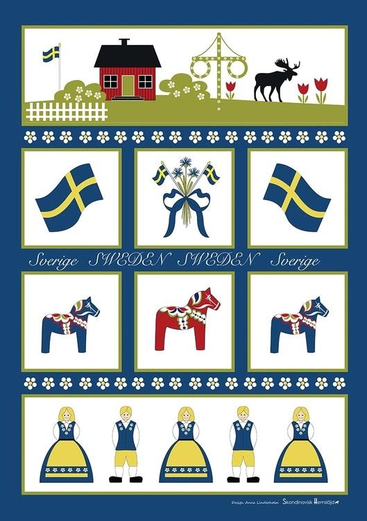 Kökshandduk Sverigesymboler