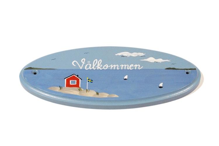 Dörrskylt oval, Handmålad Skärgårdsmotiv