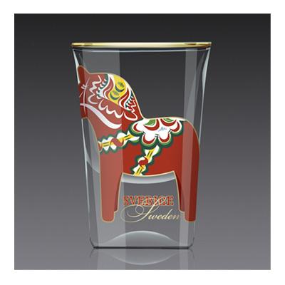 Shotglas:  Dalahäst röd