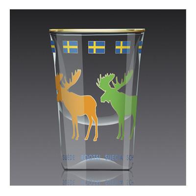Shotglas:  4 älgar i färg