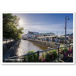 Vykort: Göteborg, kanal, spårvagn, 148 x 105 mm