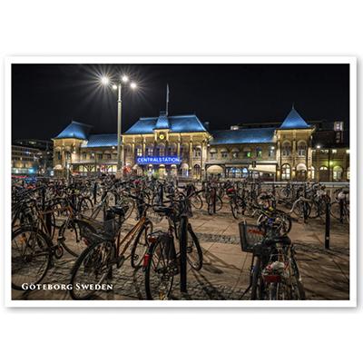 Vykort: Göteborg, Centralstation, cyklar, 148 x 105 mm