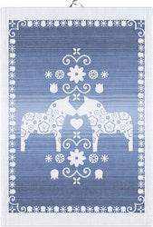 Dalahorse blå handduk 35X50, 100% Ekologisk Bomull