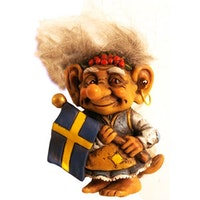 Magnet Trolla med Sverigeflagga