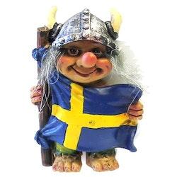 Magnet Vikingtroll med Sverigeflagga