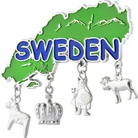 Magnet Sweden-karta med fyra hängen
