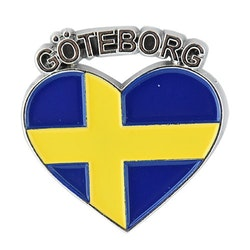 Magnet Göteborg Sverigehjärta i metal, 3,5cm