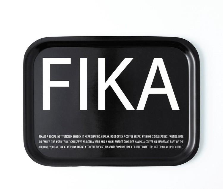 Bricka FIKA, Svart (with English text)