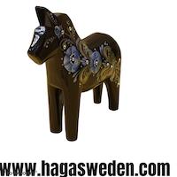 Original Dalahäst Swarovski Crystal Svart / Blå, 13cm
