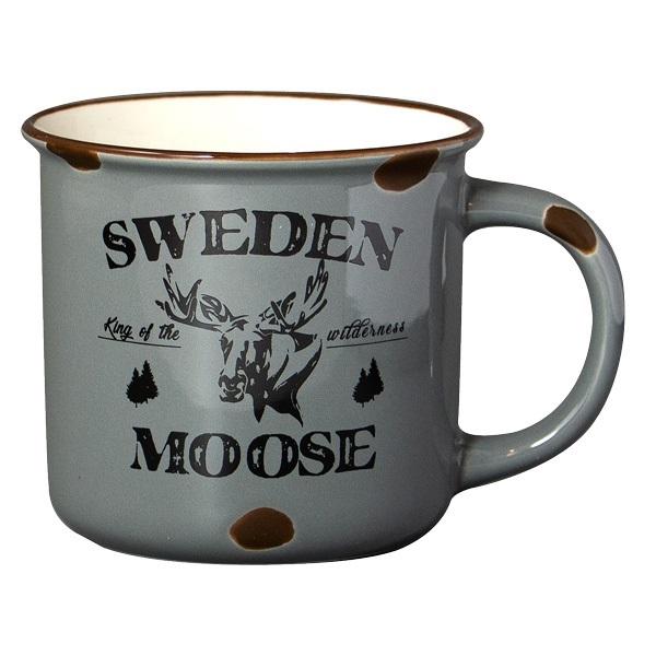 Mugg Stengods Sweden Moose, grå