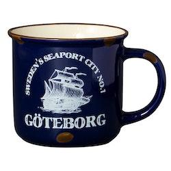 Mugg Stengods Göteborg Mörkblå
