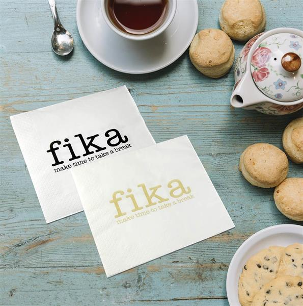 Lunchservett, Make time FIKA, vit/svart