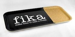 Bricka 32x15 cm kork, Make time Fika
