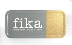 Bricka 32x15 cm kork, Make time Fika