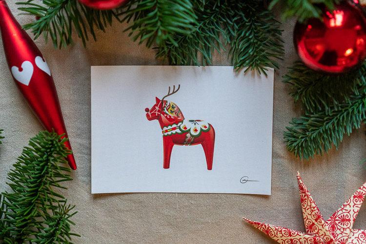 """Vykort - Dalahästen """"Rudolf"""" A6"""