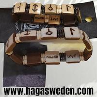 Armband 'Viking Symbol' Handmade from Bone med präglade bokstäver