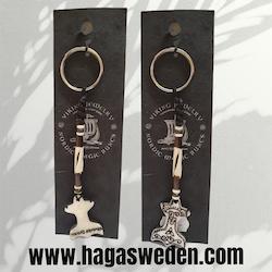 Nyckelring 'Thor's Hammer'  Handmade from Bone