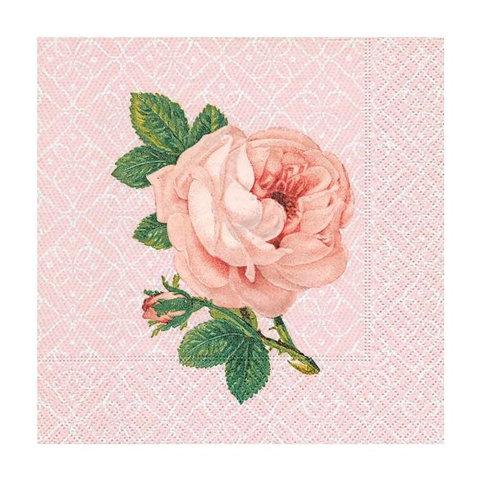 Lunchservett, porträtt av ros