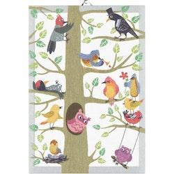 Vårfåglar handduk 35X50, 100% Ekologisk Bomull
