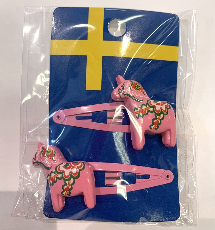 Hårspänne dalahäst rosa