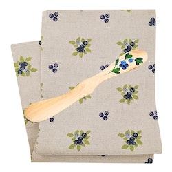 Handduk och handmålad smörkniv, Blåbär