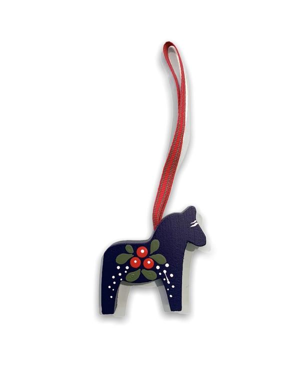 Julgranshänge Dalahäst med lingon motiv, blå