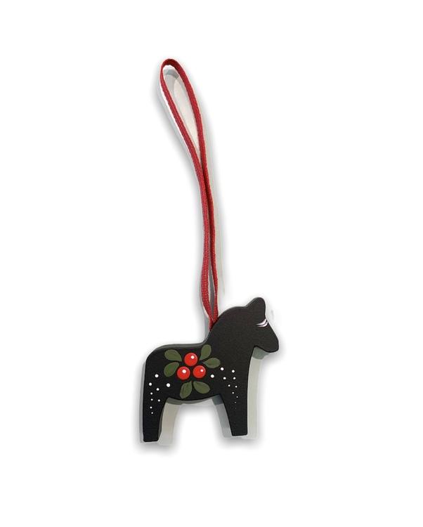 Julgranshänge Dalahäst med lingon motiv, grön