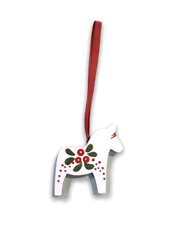 Julgranshänge Dalahäst med lingon motiv, vit