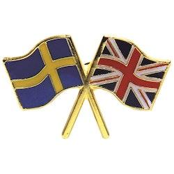 Pin vänskap Svensk flagga och Brittisk flagga