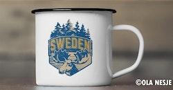Emaljmugg älg Sweden