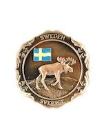 Magnet metall gående älg och Svensk flagga